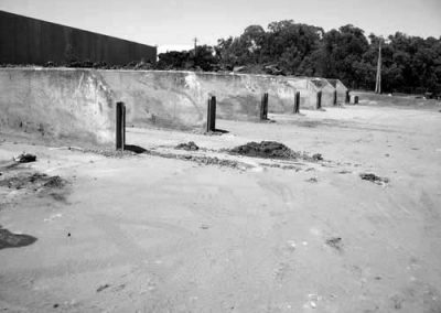 Bunker walls built by Soligo Concrete Constructions Sydney NSW Australia. Bunker walls are concrete structures used to hold waste material, strong enough to bare the weight and withstand the impact of a front end loader.